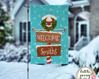 Personalized Christmas Garden Flag - Snowy Sign Wreath Christmas Garden Flag