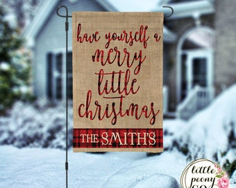 Personalized Christmas Garden Flag - Have Yourself a Merry Little Christmas - Buffalo Check Buffalo Plaid Print Christmas Garden Flag