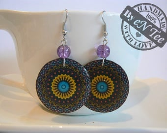 Black and yellow mandala hanging earrings