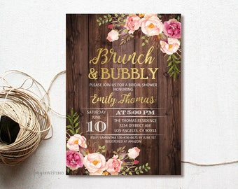 Brunch and Bubbly Bridal Shower Invitation, Rustic Floral Bridal Shower Invite, Wood Bridal Shower Invite, PERSONALIZED, Digital file, #D07