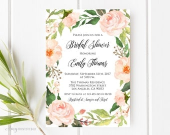 Bridal Shower Invitation, Floral Bridal Shower Invitations, Delicate Bridal Shower Invitation, PERSONALIZED, Digital file, #D09