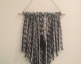 Textured Black and White Wall Hanging