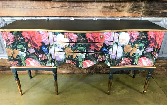 SOLD! Stunning Regency style vintage sideboard (70s) upcycled in bold Dutch floral print