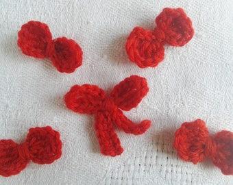 lot de 5 nœuds au crochet rouge vif