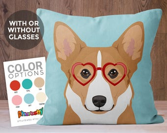 Corgi Pillow | Fiancé Gift | Dog Lover Gift | Dog Memorial | Dog Accent Pillow | Birthday Gift | Gift For Him | Dog Art | Anniversary Gift