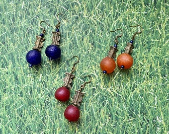 Afrocentric Ghanaian Brass and Glass Earrings | Shipping Included