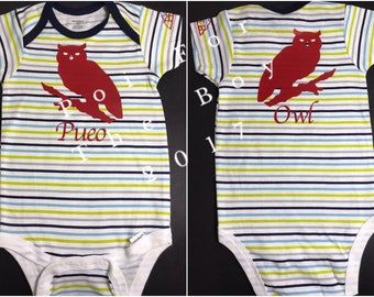 Learn Hawaiian: Pueo - Owl. Baby's one piece outfit, 12 months