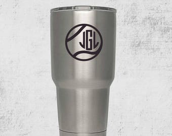 Tennis Mom Gift monogram Custom Engraved Tumbler with lid PERSONALIZED Gift Idea etched yeti tumbler Rambler 30 ounce steel tumbler