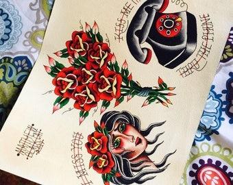 Kiss Me Thru The Phone Tattoo Flash Sheet Print (11x14)