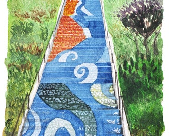 16th Avenue Tiled Steps, Water Color Painting, Poster, Art Print