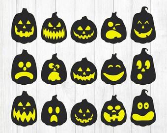 INSTANT DOWNLOAD - Pumpkin Face Svg, Pumpkin Faces Clipart, Halloween Svg File, Halloween Clipart, Jack-O-Lantern Svg File, Pumpkin Svg File