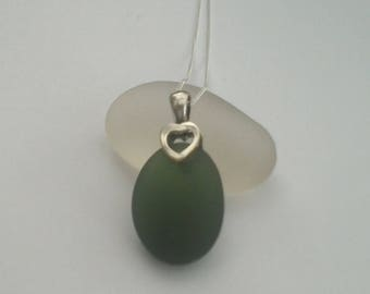 Sea Glass necklace with sterling silver chain.