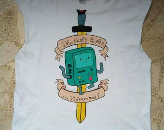Adventure Time hand painted Shirt with cut off sleeves UNISEX (personalized) WORLDWIDE SHIPPING