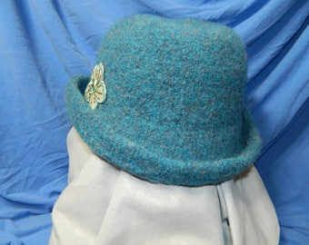 Blue Felted Wool Hat