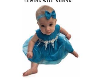 Flower girl dress, Headband, first birthday dress, formal dress, blue dress, baby, toddler, girls, party dress, wedding, photography prop