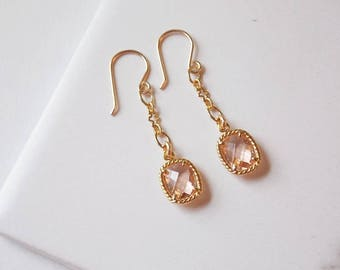 Gold Filled Peach Glass Earrings. Peachy Pink, Long Earrings, Champagne Pink