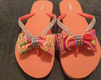 Blinging Bow Flip Flops