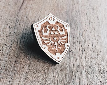 Hylian Shield Wooden Pin - Zelda, Link, Rupees, Shields, Gaming, Gamers, Nintendo, Wooden Pins, Enamel Pin, Enamel Pins, Retro, Classic
