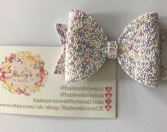 Hundreds & Thousands Cava Bead Pink Purple Blue Hair Bow Girl / Baby Glitter Hair Bow Headband