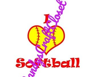 I Love Softball  SVG