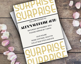 Surprise Birthday Invitation Personalised Invite  / Digital Custom Party Invitations