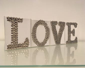 Love Silver Studded Canvas