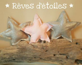 Stars to hang light pink and silver fabric home decor