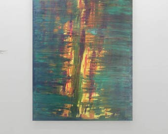 """Abstract oil painting on canvas """"End of the jungle""""orignal handmade, By Huma bahr."""