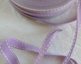 Grosgrain Ribbon stitched purple and white 1 cm wide
