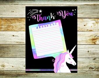 Unicorn Theme Thank You Card 4.25x5.5