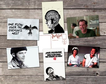One Flew Over the Cuckoo's Nest movie set 6 postcards | ken kesey poster | jack nicholson print | one flew cuckoo nest | the cuckoos nest