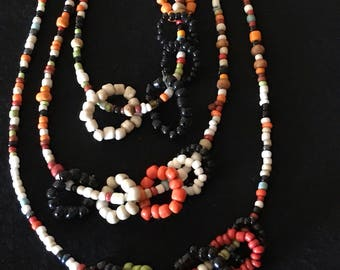 Harvest seed beaded necklace with beaded accent rings