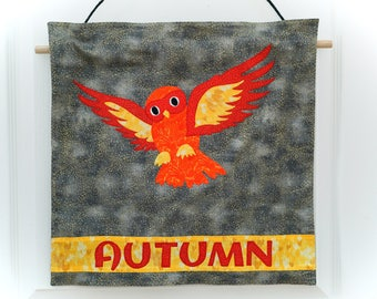 Unique Personalized Appliqué Owl Wallhanging for Bedroom or Nursery