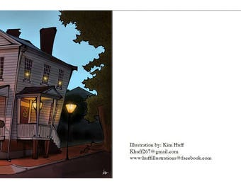 Bed and Breakfast, digital illustration, 3.5x5, postcard, small, inn, motel, Oldtown Portsmouth, 1800s, cartoon, twilight