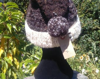 Ear warming, bobble hat, love a head today. Winter, natural, handmade, pure.3 sheep hat