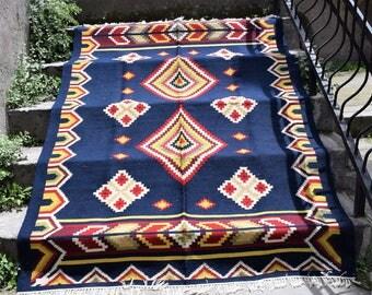oriental wool rug handmade rug vintage kilim area rug flat woven carpet