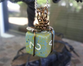 Wire wrapped 6 sided dice pendant