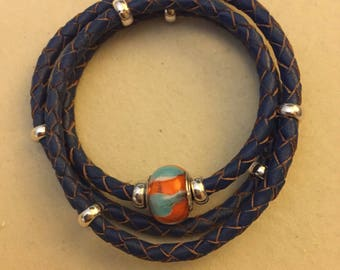 Genuine leather wrap bracelet with a murano glass sterling charm