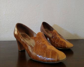 Mod loafers, 60's pilgrim, leather heels, faux alligator, suede