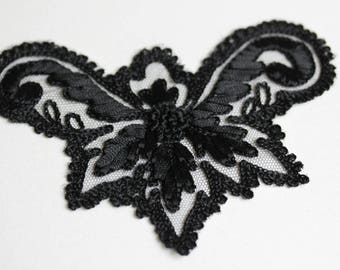 Antique Black Lace Butterfly Applique