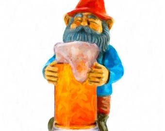 Gnome Print, Beer Poster, Gnome Art, Beer Art, Bar Decor, Bar Art Digital Download Printable File #bc34