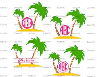 Palm Tree svg palm tree monogram frames svg beach monogram svg palm beach svg files for cricut svg for silhouette vector cut files svg dxf