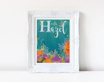 Underwater Baby Name Digital Print