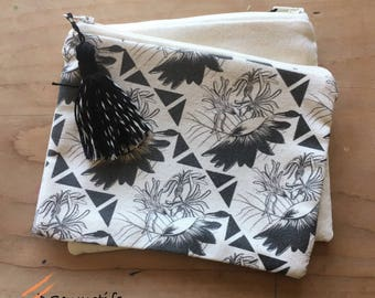black and white textile pouch