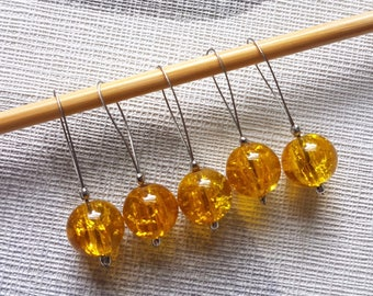 Amber glass stitch marker set