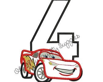 Red Race Car with number 4 Applique Embroidery Design
