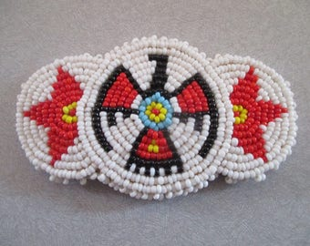 Vintage Native American Hand Made Beaded Hair Clip Leather