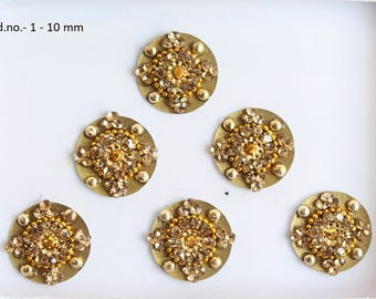Gold Round Bindis,Bridal Bindis Stickers,Stone Bindis,Gold Round Face Jewels Bindis,India Bindis,Bollywood Bindis,Fake Belly Button Stud