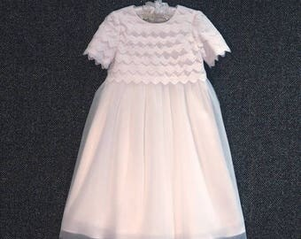 Bella beautiful handmade lace and tulle flowergirl dress