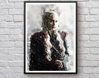 Daenerys Targaryen Game of Thrones Print, House Targaryen Poster, Emilia Clarke, Dragonstone Fire and Blood Watercolor Canvas Art Wall Decor